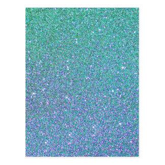 Blue Green Ombre Glitter Background Postcard