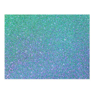 Blue Green Ombre Glitter Background Postcard