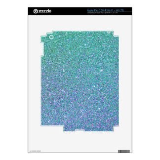 Blue Green Ombre Glitter Background Skins For iPad 3