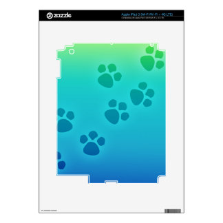 Blue Green Ombre Paw Print Heart - Paws Print iPad 3 Decals