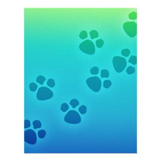 Blue Green Ombre Paw Print Heart - Paws Print Letterhead