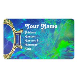BLUE GREEN OPAL ,ART NOUVEAU GOLD JEWEL MONOGRAM BUSINESS CARD