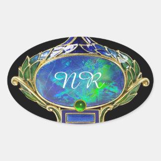 BLUE GREEN OPAL ,ART NOUVEAU GOLD JEWEL MONOGRAM OVAL STICKER