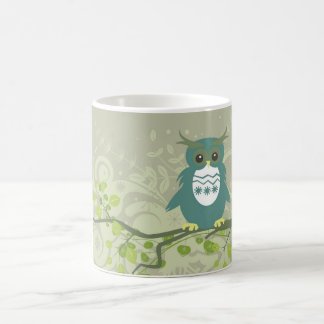 Blue Green Owl on Tree Limb Magic Mug
