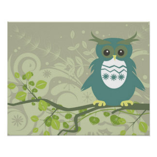Blue Green Owl on Tree Limb Poster