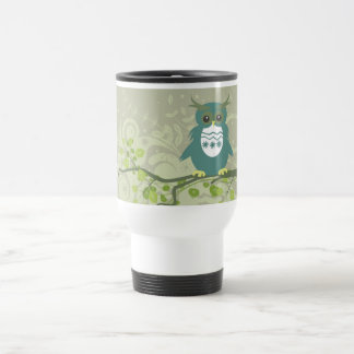 Blue Green Owl on Tree Limb Travel Mug