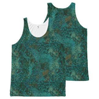 Blue-Green Painterly Abstract All Over T-Shirt