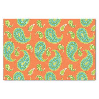 Blue-Green Paisley on Bright Orange Tissue Paper