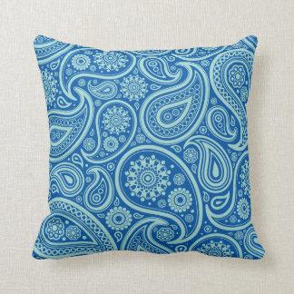 Blue Green Paisley Pattern Pillow