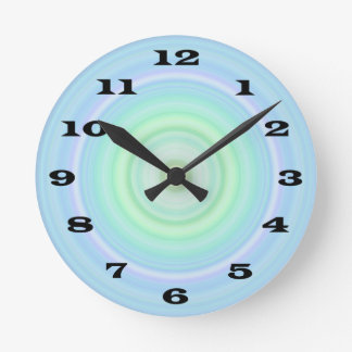 Blue Green Pastel Bullseye bold black numbers Wall Clock