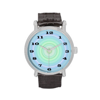 Blue Green Pastel Bullseye bold black numbers Wrist Watches