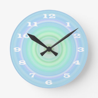 Blue Green Pastel Bullseye bold white numbers Round Wall Clock