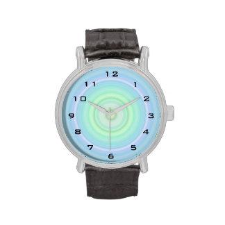 Blue Green Pastel Bullseye digital black numbers Wristwatch
