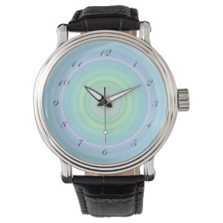 Blue Green Pastel Bullseye script black numbers Watch