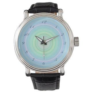 Blue Green Pastel Bullseye script black numbers Wristwatches