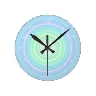 Blue Green Pastel Bullseye script white numbers Round Wallclock