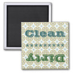 Blue Green Pattern Clean Dirty Dishwasher Magnet