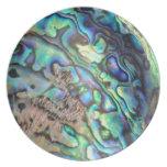 Blue green paua abalone shell detail dinner plate