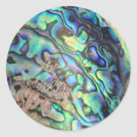 Blue green paua abalone shell detail classic round sticker
