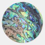 Blue green paua abalone shell detail classic round sticker