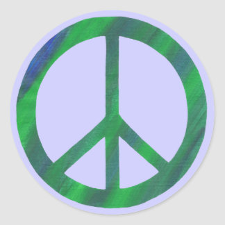 Blue Green Peace sign, peace stickers
