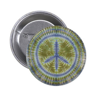 Blue & Green Peace Sign Tie Dye Button