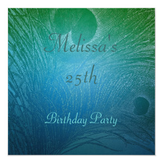 Blue & Green Peacock Feather Birthday Party 5.25x5.25 Square Paper Invitation Card