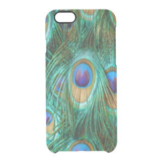 Blue Green Peacock Feathers Clear iPhone 6/6S Case