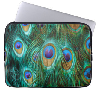 Blue Green Peacock Feathers Laptop Sleeve