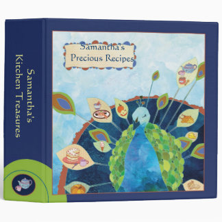 Blue Green Peacock Holiday Gift Recipe Binder