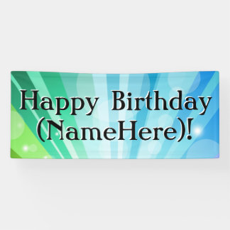 Blue/Green Personalized Birthday Party Banner