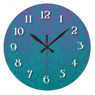 Blue-Green/ Pink  Damask Wall Clock
