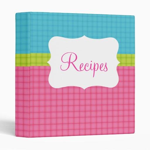 Blue/Green/Pink Recipe Binder