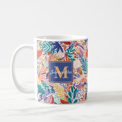 Blue, Green & Pink Troical, Exotic floweral Coffee Mug