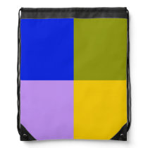 Blue, Green, Pink, Yellow Squares Drawstring Backpack