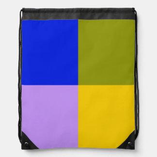 Blue, Green, Pink, Yellow Squares Drawstring Backpack