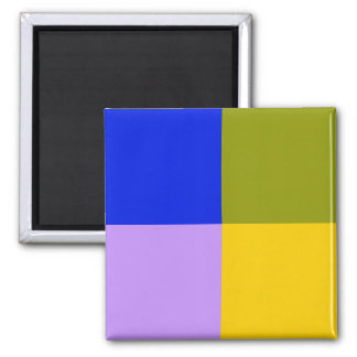 Blue, Green, Pink, Yellow Squares Refrigerator Magnets