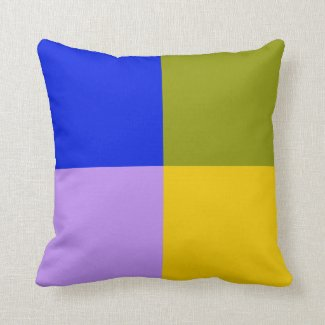 Blue, Green, Pink, Yellow Squares Throw Pillow