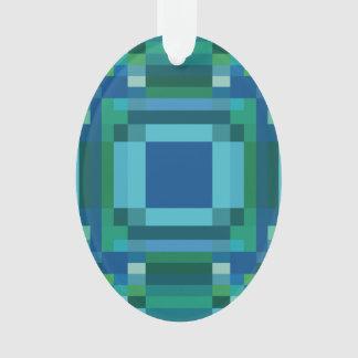 Blue Green Pixelated Geometric Ornament