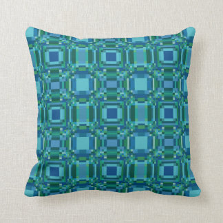 Blue Green Pixelated Geometric Pillow