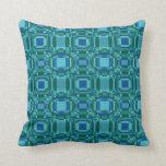 Blue Green Pixelated Geometric Pillows