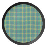 Blue Green Plaid Design with Black Trim Party Plate