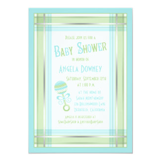 Blue Green Plaid Rattle Baby Shower Invitation