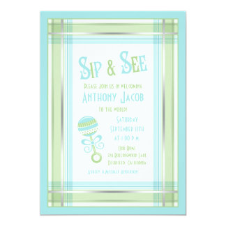 Blue Green Plaid Rattle Baby Shower Sip and See Card