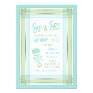 Blue Green Plaid Rattle Baby Shower Sip and See Cards