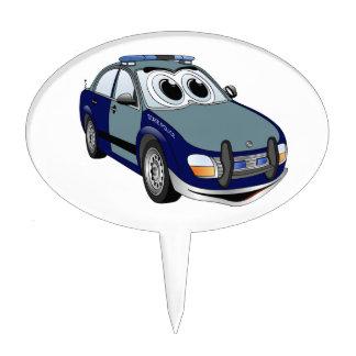 Blue Green Police Car Cartoon Cake Topper