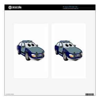 Blue Green Police Car Cartoon Decal For Kindle Fire