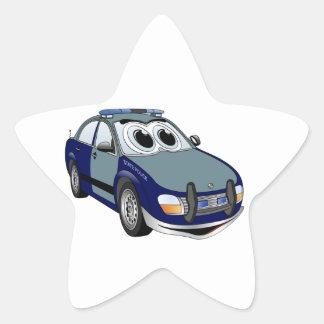 Blue Green Police Car Cartoon Star Sticker