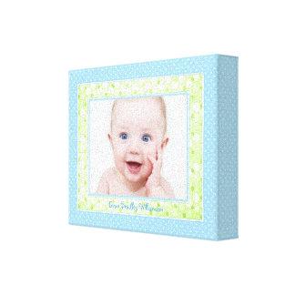 Blue Green Polka Dot Custom Baby Boy Photo Picture Canvas Print