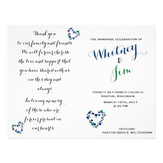 Blue & Green Polka Dot Foldable Wedding Programs